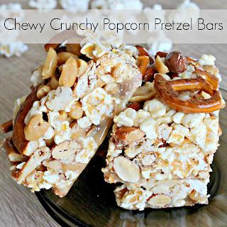 Chewy & Crunchy Caramel popcorn pretzel bars