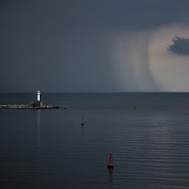 A Curtain of Rain by Stoyan Baev - Landscapes Cloud Formations ( rain, horizon, seascape, lighthouse, sea, landscape )