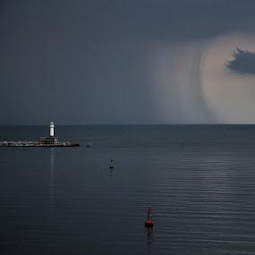 A Curtain of Rain by Stoyan Baev - Landscapes Cloud Formations ( rain, horizon, seascape, lighthouse, sea, landscape )