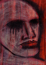 Photo: Anguish. 5 inches x 7 inches. Acrylics and oil sticks on 110 lb. acid-free paper. Signed on the front; title, signature, and date on the reverse. Sealed with a fixative. Comes in a clear bag with cardboard backing. ©Marisol McKee