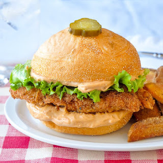Copycat Big Mary Chicken Sandwich with Taters.
