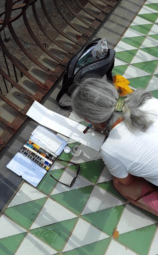 stage CARNET DE VOYAGE _ aquarelle  avec JEANNE PAPA_Naples 2019_ travaux des éléves_ Fontainebleau_ Seine et Marne
