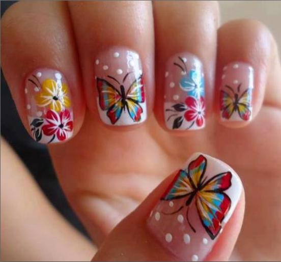 Unhas decoradas flores - Flores e borboletas coloridas