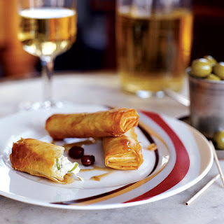 Cabrales Phyllo Rolls with Sherry Dipping Sauce.