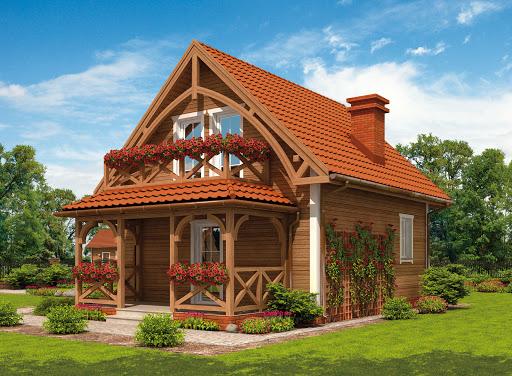 projekt Orlean 2 dom letniskowy z poddaszem szkielet drewniany