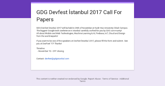GDG Devfest İstanbul 2017 Call For Papers
