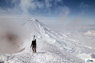 Photo: Marta on the summit of volcano Avachinsky