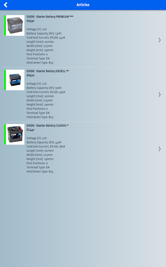 EXIDE Battery Finder- screenshot