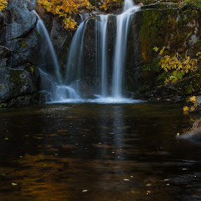 Fall Falls by Mike Lee - Landscapes Waterscapes ( peaceful, silky water, slow exposure, waterfall, fall foliage, moving water, silky, nature, autumn, serene, foliage, cascade, creek, outdoors, fall, crystal creek, water fall, slow shutter, river,  )