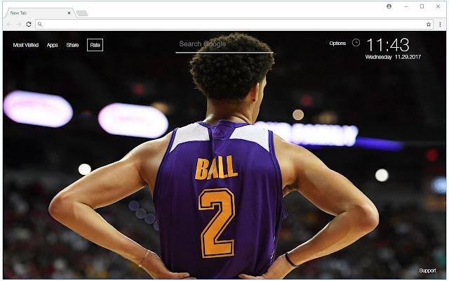 Lonzo Ball HD Wallpaper NBA New Tab Themes
