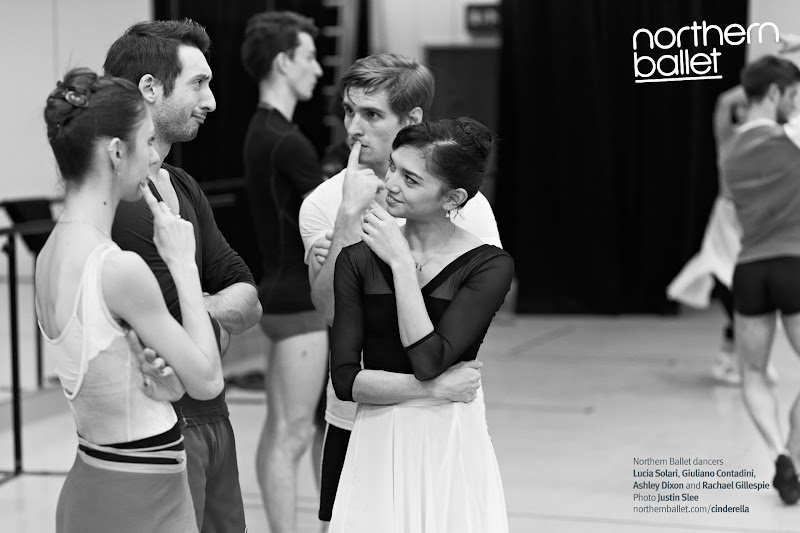 Photo: Taking a time-out during rehearsals... (Left to right foreground) Lucia Solari, Giuliano Contadini, Ashley Dixon, Rachael Gillespie. (Rear left) Tobias Batley, (rear right) Nicola Gervasi. Photo Justin Slee. http://northernballet.com/cinderella