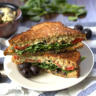 Grilled Mediterranean Black Olive Hummus Panini Sandwiches.