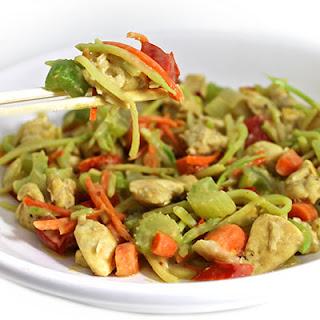 Chicken Satay Stir-Fry with Skinny Peanut Sauce.