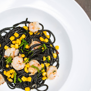 Squid Ink Tonnarelli with Rock Shrimp and Summer Corn.