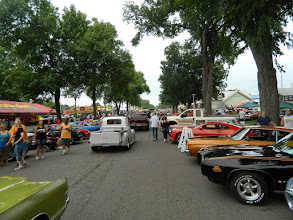 Photo: Miles of streets lined up with classics and people (over 6000 cars in attendance)