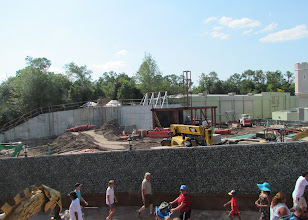 Photo: Keeping tabs on construction at the new restrooms and landscaping that is coming to Small World area of Fantasyland across from the Peter Pan restrooms.