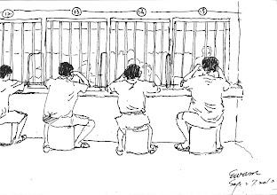 Photo: 接見室2010.09.27鋼筆 隔著鐵窗及壓克力玻璃,透過話筒和外面的親人見面,此時此刻,親情的溫暖使收容人暫時忘卻冰冷的監獄生活,也讓他們有了繼續走下去的力量…
