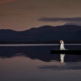 Moonlight by Adrian O'Neill - Wedding Bride & Groom ( water, love, wedding photography, bride, groom )
