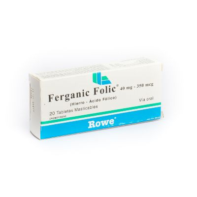 Hierro + Acido Folico Ferganic Folic 40mg/350mcg x 20 Tabletas Masticables