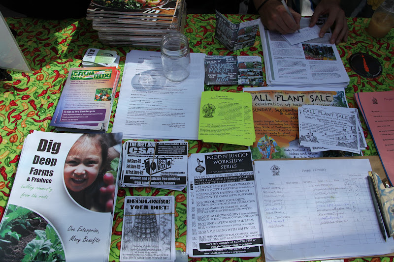 Photo: Flyers of the various food justice events and farmers markets on the East Bay