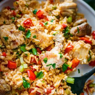 Chicken Thighs Spanish Rice.