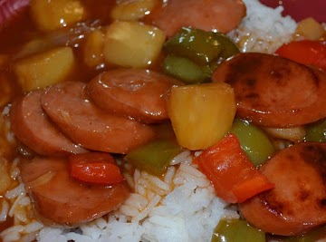 Sweet And Sour Smoked Sausage Over Rice Recipe