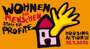 Plakat: Häuschen mit hilfesuchend ausgestrckter Hand «Wohnen für Menschen statt für Profite. Housing Action Day 28.3.2020».