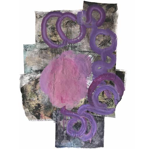 comme-un-parfum-d-egarement_sophie_lormeau_circonvolutions_cerveau_droit_souvenirs_chaos_ame_fragment_organique_rose_violet_mauve_peinture_dessin_papier_magazine_art_contemporain-artiste_femme_emergente_©_adagp_paris_2021_