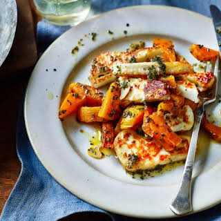 Butternut Squash With Rosemary And Halloumi.
