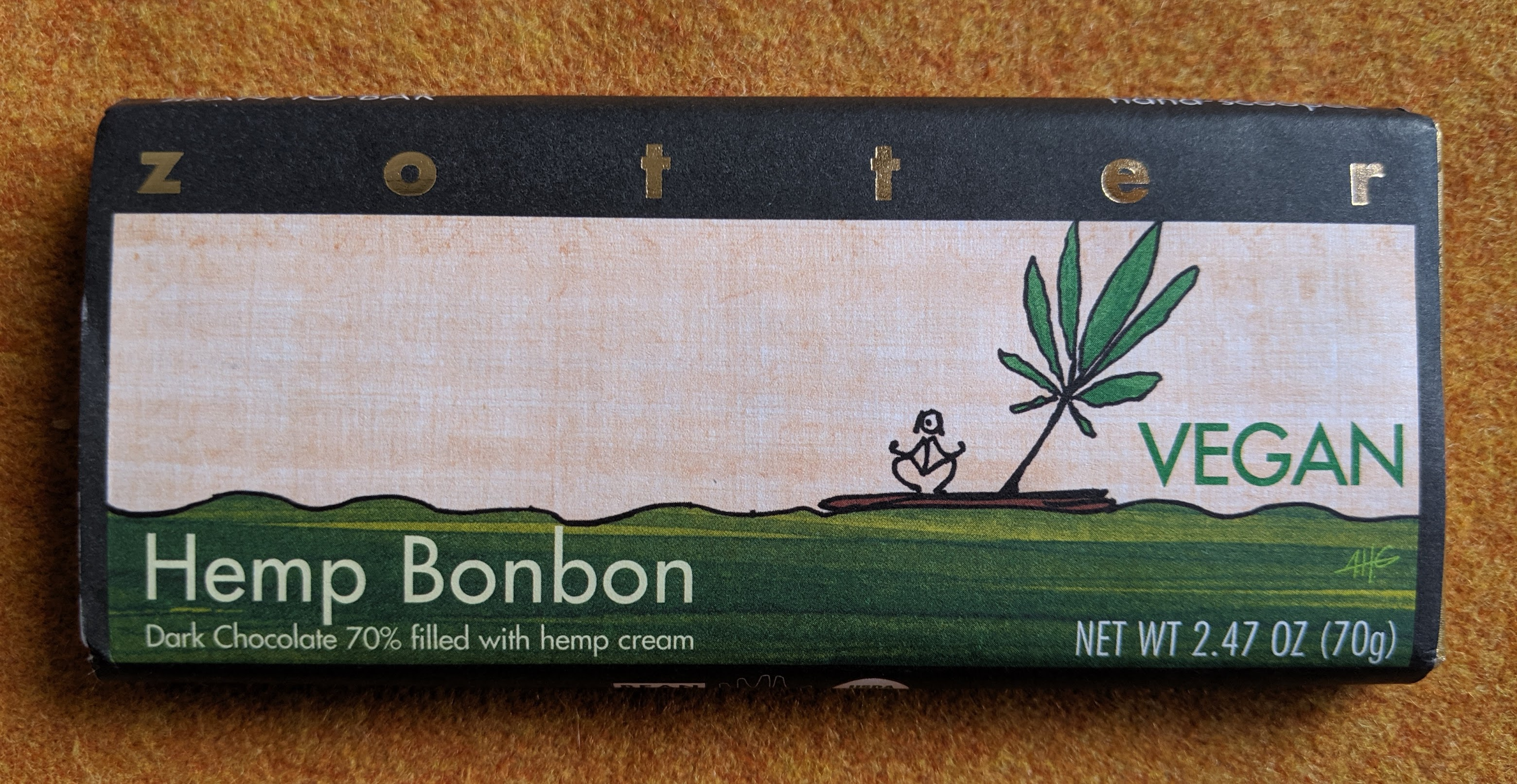 70% zotter hemp bonbon bar