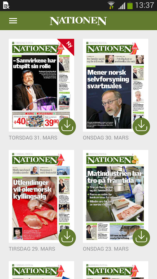 Nationen eAvis- screenshot