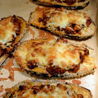 Baked Eggplant Parmesan Boats.