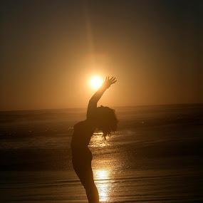 Yoga,  Sun and sea by Cristobal Garciaferro Rubio - Sports & Fitness Other Sports ( shore, sunset, sea, yoga, sun )