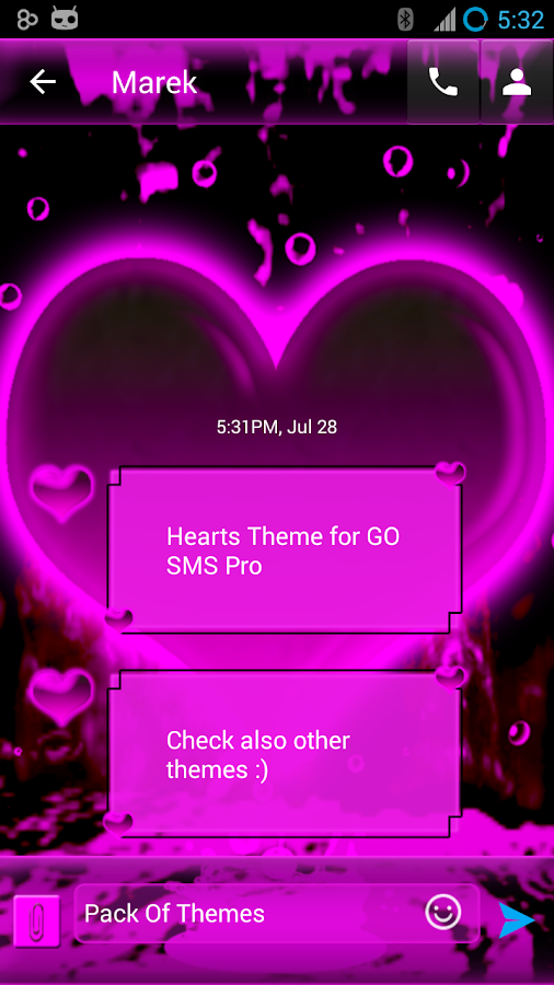 Hearts Theme for GO SMS Pro- screenshot