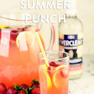Strawberry Lemonade Summer Punch with Homemade Strawberry Schnapps.