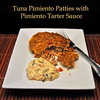Tuna Pimiento Patties with Pimiento Tartar Sauce.