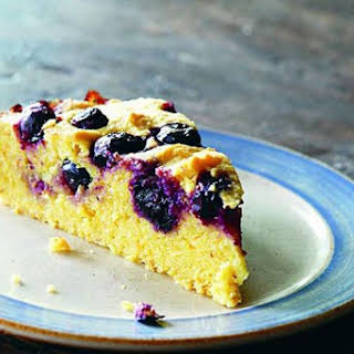 St Clements polenta cake with blueberries.