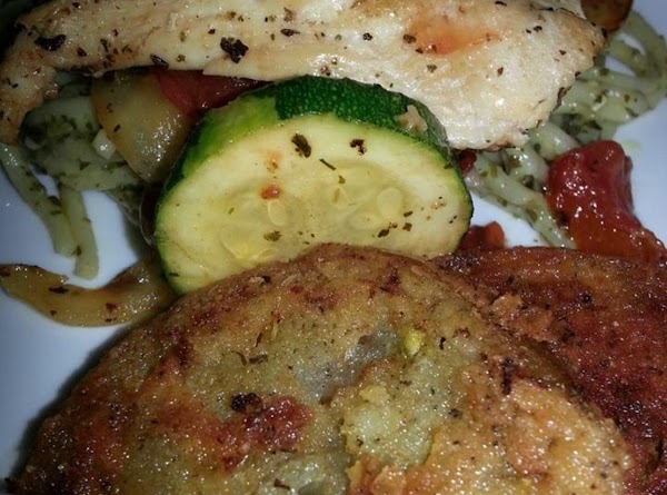Chicken or turkey breast, zucchini, onions, bacon, pasta noodles with pesto sauce, fried green tomatoes