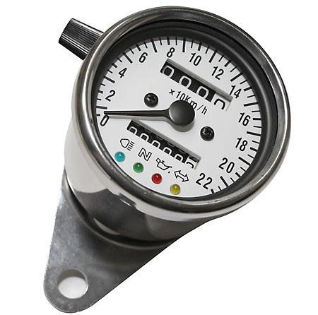 Stainless steel speedo, 1000 RPM, Ø 60 mm, dial white, blue illuminating