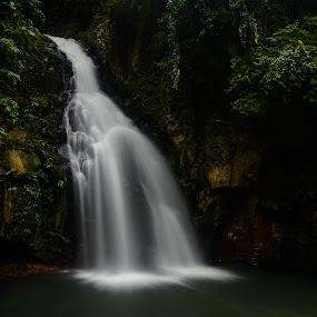 Tiklas Falls by Jan Robin - Landscapes Travel ( water, nature, green, waterfal, long exposure, leaves, stones, landscape, river )