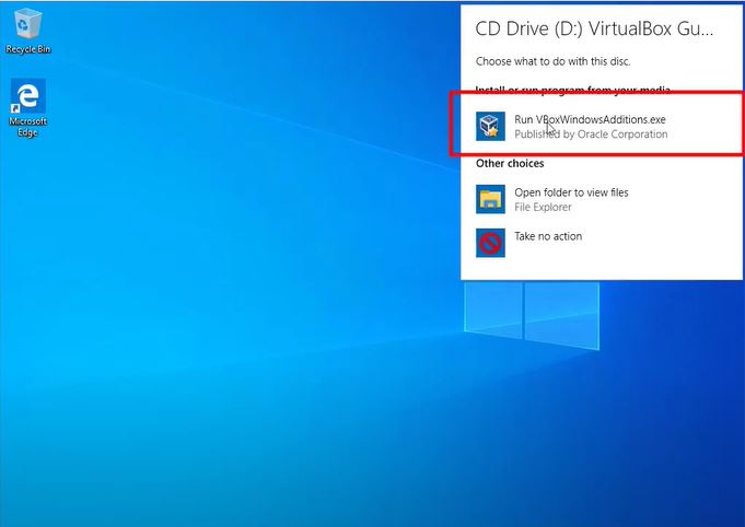 Run VBoxWindowsAdditions.exe