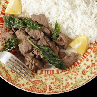 Stir-Fried Lemongrass Beef with Holy Basil.
