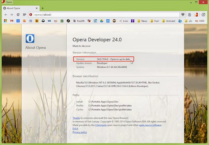 cara update Opera portabel