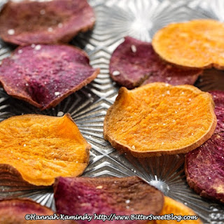 Baked Sweet Potato Chips with Creamy Date Caramel Dip.