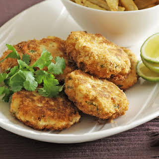 Salmon Cakes with Chili Salt Fries.