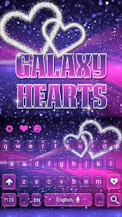 Purple Galaxy Keyboard Hearts Theme - náhled