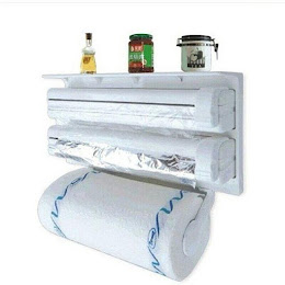 Dispenser triplu de bucatarie pentru hartie, folie aluminiu si folie stretch
