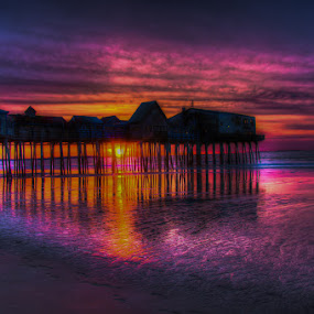 Purple Sky by Chris Cavallo - Landscapes Sunsets & Sunrises ( old orchard beach, blue sky, purple, maine, pink, ocean, scenic, sunrise, beach, atlantic,  )