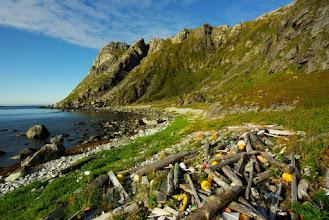 Photo: Littered coastline at 70deg north