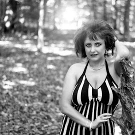 Beatrice by Alexandru Tache - Black & White Portraits & People ( love, dress, forest, woman, natural, nature, tree, portrait, cute, people, morning, outdoor, beautiful, mountain, light, dream, culture, plant, lady, model, black and white, photography )